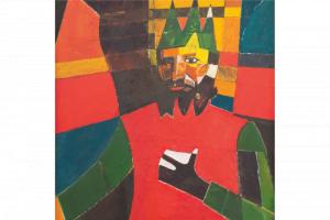 "Silk Scarf ""Self-Portrait in an Antique Crown"""