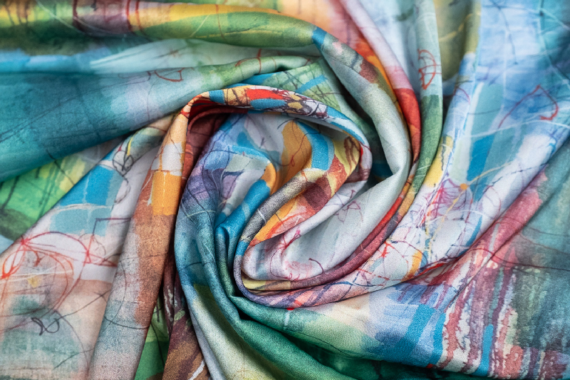 """Silk scarf """"Invention of the bicycle #1""""- img. 2"""