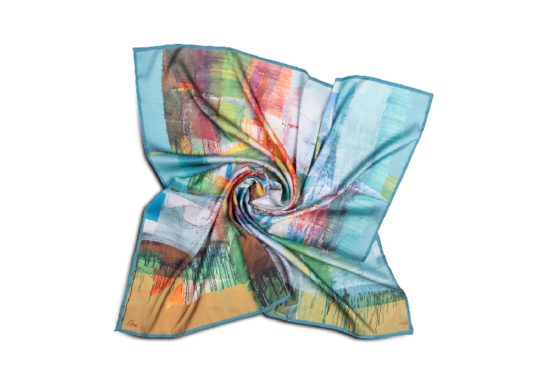 """Silk scarf """"Invention of the bicycle #1"""""""