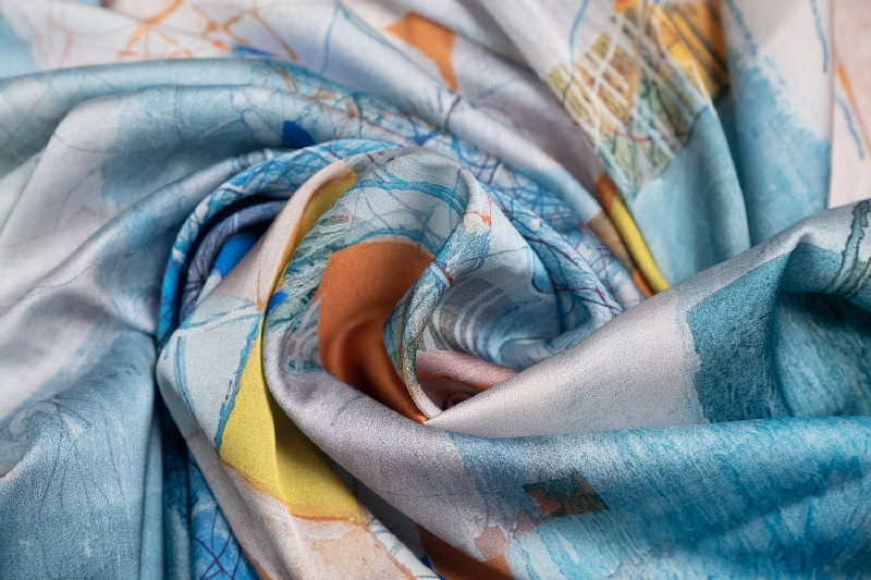 "Silk scarf ""Invention of the bicycle #5""- img. 2"