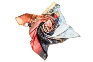 "Silk scarf ""Variation with shell on themes by Pinturicchio and Raphael"""