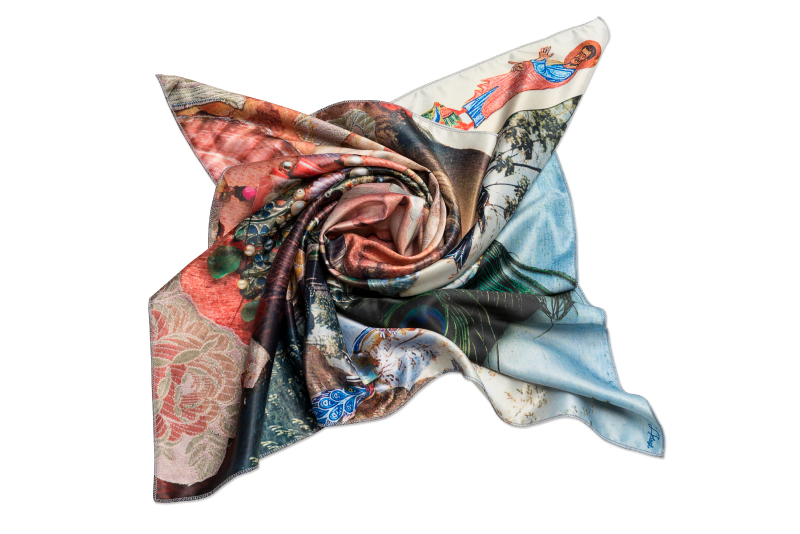 "Silk scarf ""Variation themes by Pinturicchio and Raphael"""